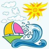 Summer background with wave boat sun and clouds — Stock Vector