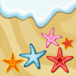 Summer background with sea stars — Stock Vector