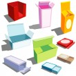 Boxes in many colors — Stock Vector