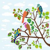 Abstract birds on tree — Stock Vector