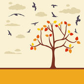 Autumn background with tree leaves and birds — Stock Vector