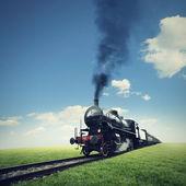 Viajar en tren a vapor — Foto de Stock