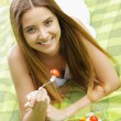 Healthy woman eating salad — Stock Photo