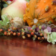 Autumn arrangement with pumpkins - Stock Photo