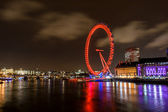 River thames and London eye by night — Stock Photo