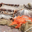 Beam trawl and nets of a fishing cutter — Stock Photo