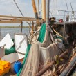 Dutch fishing ships in harbor of Urk - Stock Photo