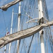 Rigging of a big sailing vessel — Stock Photo