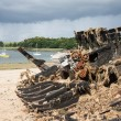 Burned ship wreck at coast of Brittany, France — Stock Photo
