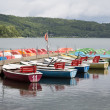 Colorful rowboats for rental in a German lake — Stock Photo