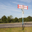 Traffic sign in farmland of Flevoland, Netherlands — стоковое фото #12347488