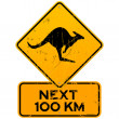 Roadsign Kangaroos Next 100 km — Stock Vector #11534358