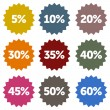 Discount Stars Set - Stock Vector