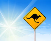 Kangaroo sign on blue sky — Stock Vector