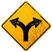 Bifurcou-se sinal de estrada — Vetorial Stock