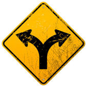 Forked road sign — Vetorial Stock