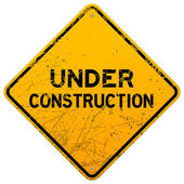 Dirty Under Construction Sign — Stock Vector