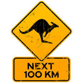 Roadsign Kangaroos Next 100 km — Stock Vector