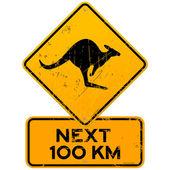 Roadsign Kangaroos Next 100 km — Stock Vector