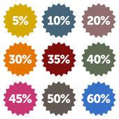 Discount Stars Set — Stock Vector