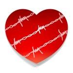 Barbwire Love Heart — Stock Vector