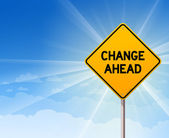 Change Ahead Roadsign on Blue Sky — Stock Vector