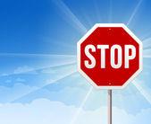 Stop roadsign auf blauer himmel hintergrund — Stockvektor