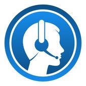 Icono contacto auricular — Vector de stock