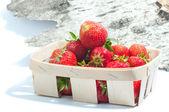 Fresh strawberry on the wood background — Stock Photo