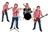 Man playing on different musical instruments — Stock Photo