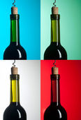 Bottle with red wine on differend backround — Stock Photo