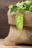 Hop in a burlap bag on wooden background — Stock Photo