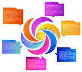 Six parts presentation — Stock Vector