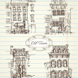 Old hand drawn houses - Stock Vector