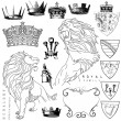 Lions and crowns - Image vectorielle