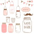 Glass Jars, frames and cute seamless backgrounds. - Vettoriali Stock