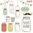Glass Jars, frames and cute seamless backgrounds. - Stock Vector