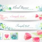 Beautiful floral headers — Stock Vector