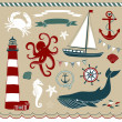 Nautical and Sea Set - Imagen vectorial