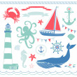 Nautical and Sea Set - Stock Vector