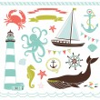 Nautical and Sea Set — Stock Vector