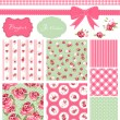 Stock vektor: Vintage Rose Pattern