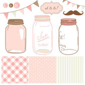 Glass Jars, frames and cute seamless backgrounds. — Stok Vektör