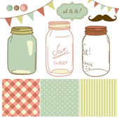 Glass Jars, frames and cute seamless backgrounds. — Cтоковый вектор