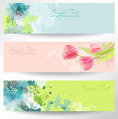 Beautiful floral headers — Vecteur