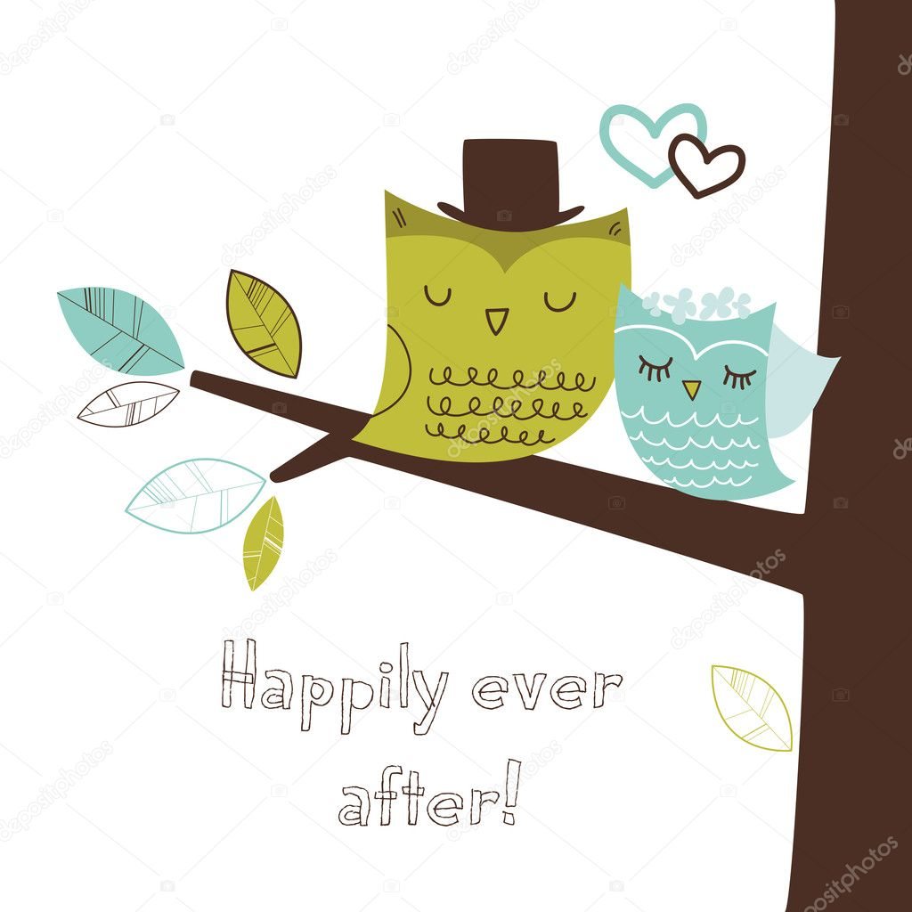 Two cute owls on the tree branch, Romantic Wedding Card — Stock Vector #11390610