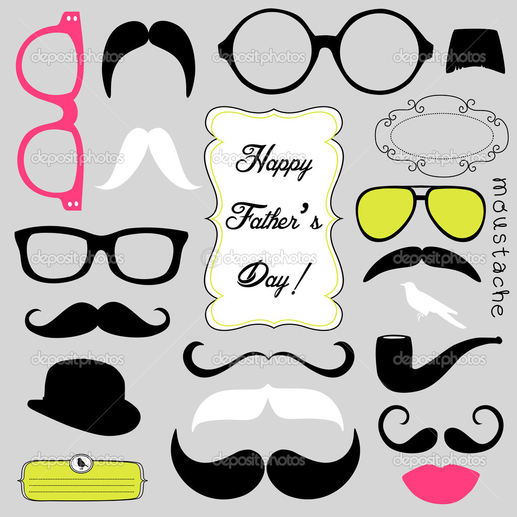 Happy Fathers day background, spectacles and mustaches, retro style — Stock Vector #11390972