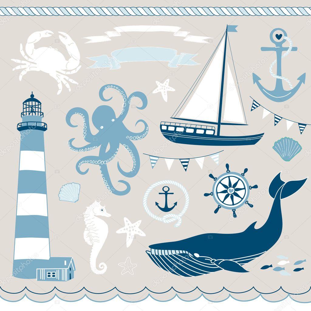 Nautical and Sea Set — Stock Vector © AlisaFoytik #11395173