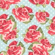 Royalty-Free Stock Vektorfiler: Beautiful Seamless rose pattern with blue polka dot background, vector illustration