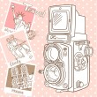 Travel with your vintage camera. — Stock Vector